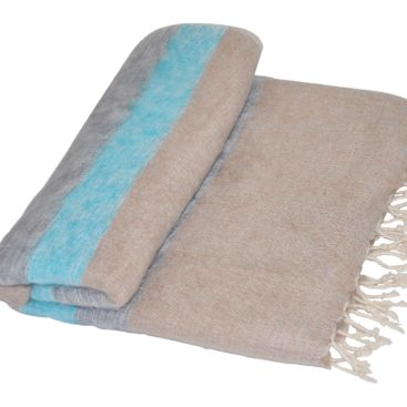 Népal Couverture Bleu, Gris - Shawls4you.fr