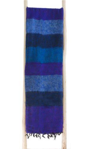 Népal Plaid rayé bleu violet- Commande en ligne - Shawls4you.fr