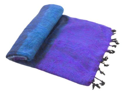 Népal Plaid rayé bleu violet- Commande en ligne -Shawls4you.fr