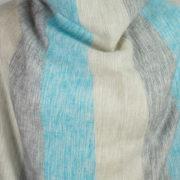 Népal châle gris rayé bleu (180 x 80 cm)