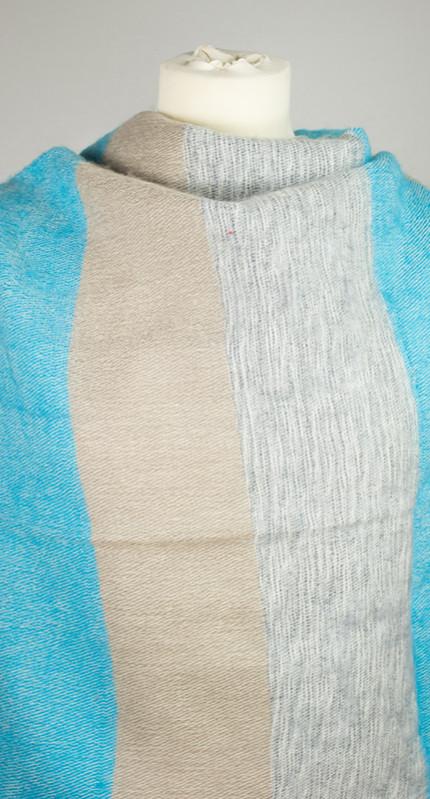 Nepal Chale Bleu, Gris rayé (180 x 80 cm)1