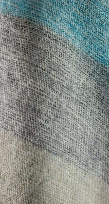 Nepal Chale Bleu, Gris rayé (180 x 80 cm)2