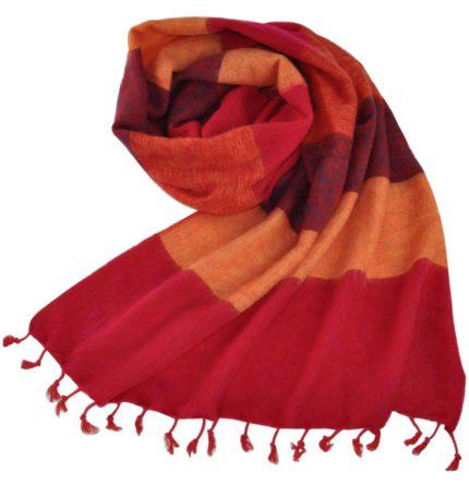 Nepal-chale Jaune rouge-online -Shawls4you.fr