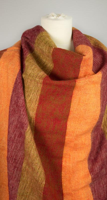 Rayé rouge écharpe en laine (180 x 80 cm)