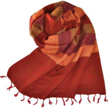 Rayé rouge écharpe en laine yack (180 x 80 cm)