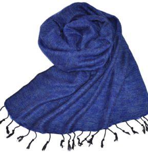 Tissus de laine de Yak Bleu (180 x 80 cm) -commander en ligne Shawls4you.fr