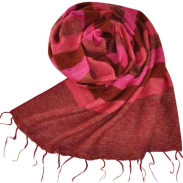 Wrap tibétain rayé rouge (180 x 80 cm) -commander en ligne Shawls4you.fr