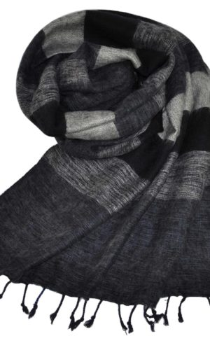 Yak Chale gris noir (180 x 80 cm) -commander en ligne Shawls4you.fr