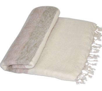 Yak couverture de laine rose blanche
