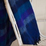 yak couverture de laine rayé bleu