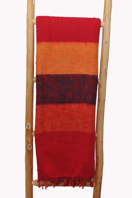 Népal Plaid rayé rouge – Commande en ligne -Shawls4you.fr