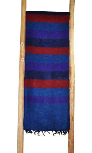 Népal Plaid rayure rouge bleu - Commande en ligne - Shawls4you.fr