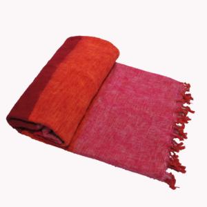 Népal Plaid rose rayée - Commande en ligne - Shawls4you.fr