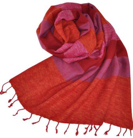 Népal châle Rose Orange – Commande en ligne- Shawls4you.fr