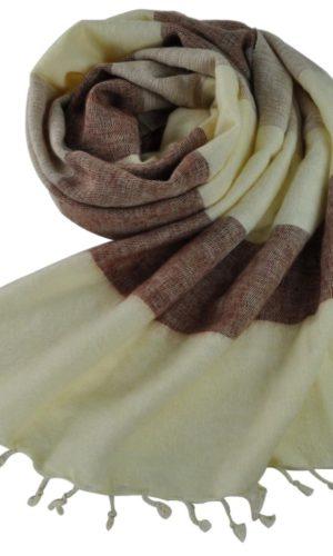 Népal châle blanc marron beige - Commande en ligne - Shawls4you.fr