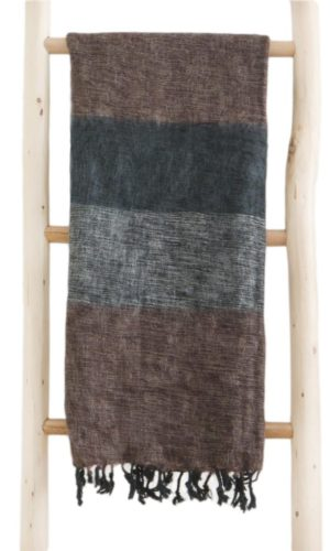 Népal châle marron noir gris- Commande en ligne - Shawls4you.fr
