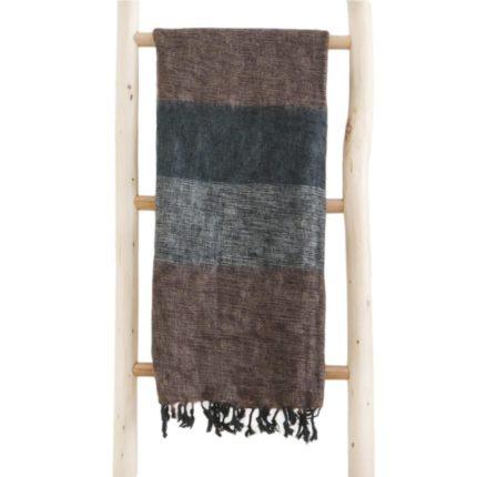 Népal châle marron noir gris- Commande en ligne -Shawls4you.fr