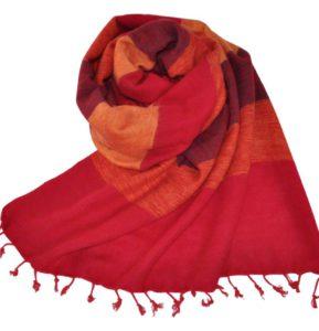 Népal châle rouge, cyclaam - Commande en ligne - Shawls4you.fr