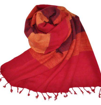 Népal châle rouge, cyclaam – Commande en ligne – Shawls4you.fr
